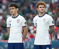 DENVER, CO - JUNE 6: Gio Reyna, Josh Sargent of the United States during a game between Mexico and USMNT at Mile High on June 6, 2021 in Denver, Colorado.