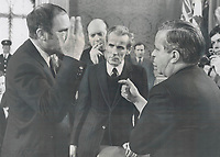1969 FILE PHOTO - ARCHIVES -<br /> <br /> Prime Minister Pierre Trudeau, left, said Tuesday that Quebec Premier Jean Jacques Bertrand was off his rocker if he thought the federal government's decision to build an airport north of Montreal instead of south was an attempt to help Ontario at the price of helping Quebec.<br /> <br /> 1969<br /> <br /> PHOTO :  Doug Griffin - Toronto Star Archives - AQP
