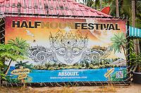 Thailand, Koh Phangan Island. Half moon festival sign.