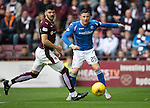 Hearts v St Johnstone...02.08.15   SPFL Tynecastle, Edinburgh<br /> Michael O'Halloran drags his shot wide<br /> Picture by Graeme Hart.<br /> Copyright Perthshire Picture Agency<br /> Tel: 01738 623350  Mobile: 07990 594431