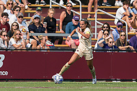 NEWTON, MA - SEPTEMBER 12: Jenna Bike #4 of Boston College brings the ball forward during a game between Holy Cross and Boston College at Newton Campus Soccer Field on September 12, 2021 in Newton, Massachusetts.