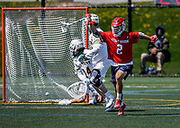 1 May 2021: Stony Brook University Seawolves Midfielder Connor Grippe, a Senior from Setauket, NY, celebrates scoring against the University of Vermont Catamounts at Virtue Field in Burlington, Vermont. The Cats edged out the Seawolves 14-13 with less than one second to play in their America East Men's Lacrosse matchup. Mandatory Credit: Ed Wolfstein Photo *** RAW (NEF) Image File Available ***