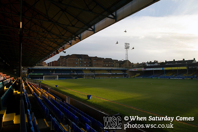 Southend United 1 Burton Albion 1, 22/02/2016. Roots Hall, League One. The view from the deserted main stand at Roots Hall stadium, pictured before Southend United took on Burton Albion in a League 1 fixture. Founded in 1906, Southend United moved into their current ground in 1955, the construction of which was funded by the club's supporters. Southend won this match by 3-1, watched by a crowd of 6503. Photo by Colin McPherson.