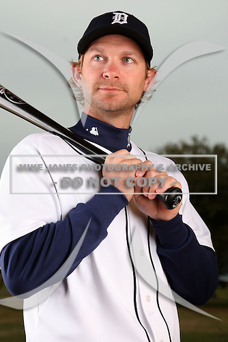 February 27, 2010:  Infielder Adam Everett (4) of the Detroit Tigers poses for a photo during media day at Joker Marchant Stadium in Lakeland, FL.  Photo By Mike Janes/Four Seam Images