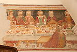 15th century fresco (restored in 17th century) of the last super with crayfish in the San Martino church which dates back to 1250, in the Swiss Bregaglia Valley town of Bondo