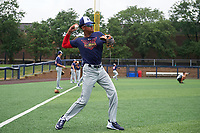 Werner Blakely (1) during the Under Armour All-America Game Practice, powered by Baseball Factory, on July 21, 2019 at Les Miller Field in Chicago, Illinois.  Werner Blakely attends Detroit Edison Academy in Detroit, Michigan and is committed to Auburn University.  (Mike Janes/Four Seam Images)