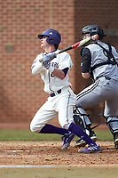 Brady Pearre (2) of the High Point Panthers follows through on his swing against the Bryant Bulldogs at Williard Stadium on February 21, 2021 in  Winston-Salem, North Carolina. The Panthers defeated the Bulldogs 3-2. (Brian Westerholt/Four Seam Images)