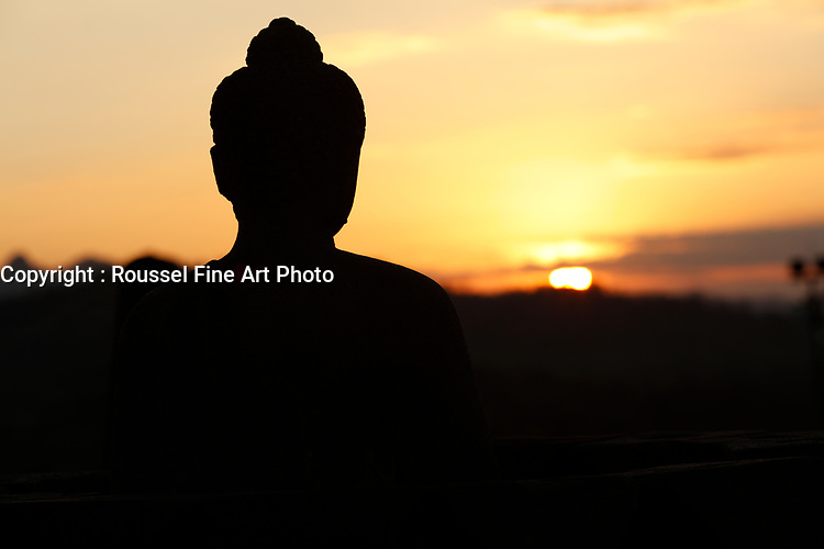 sunset over Borobudur <br /> <br /> <br /> NOTE : final print will have some detail in shadows