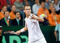 19-9-08, Netherlands, Apeldoorn, Tennis, Daviscup NL-Zuid Korea, First rubber  Thiemo de Bakker
