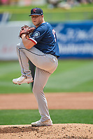 Bryan Pall (17) of the Tacoma Rainiers delivers to the plate against the Salt Lake Bees  at Smith's Ballpark on May 16, 2021 in Salt Lake City, Utah. The Bees defeated the Rainiers 8-7. (Stephen Smith/Four Seam Images)