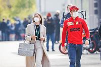 16th April 2021; Autodromo Enzo and Dino Ferrari, Imola, Italy; F1 Grand Prix of Emilia Romagna, Free Practise sessions;  LECLERC Charles (mco), Scuderia Ferrari SF21, and his girlfriend SINE Charlotte