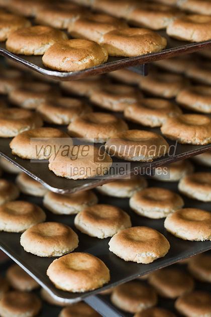 Europe/France/Aquitaine/64/Pyrénées-Atlantiques/Pays Basque/Saint-Jean-de-Luz: Fabrication des macarons chez Adam- Plaques de macarons  à la sortie du four.