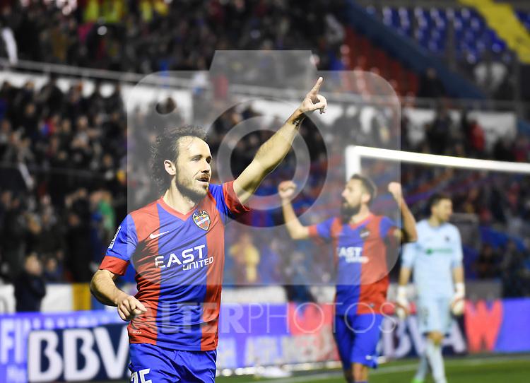Levante's  Verdu celebrating a goal   during La Liga match. February 19, 2016. (ALTERPHOTOS/Javier Comos)