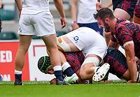 4th July 2021; Twickenham, London, England; International Rugby, Autumn Internationals, England versus United States of America; Jamason Fa'anana-Schultz of USA scores a try under pressure