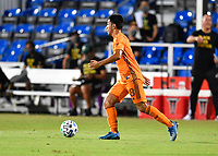LAKE BUENA VISTA, FL - JULY 18: Memo Rodríguez #8 of the Houston Dynamo looks for options as he dribbles upfield during a game between Houston Dynamo and Portland Timbers at ESPN Wide World of Sports on July 18, 2020 in Lake Buena Vista, Florida.