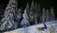 Ski jumping in Schrøderbakken, near the center of Oslo.