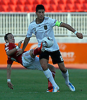 Emre Can (R) of Germany is challenged by Patrick Olsen from Denmark during the UEFA U-17 championships Semi Final match between Denmark and Germany on May 12, 2011 in Novi Sad, Serbia. (Photo by Srdjan Stevanovic/Starsportphoto.com)