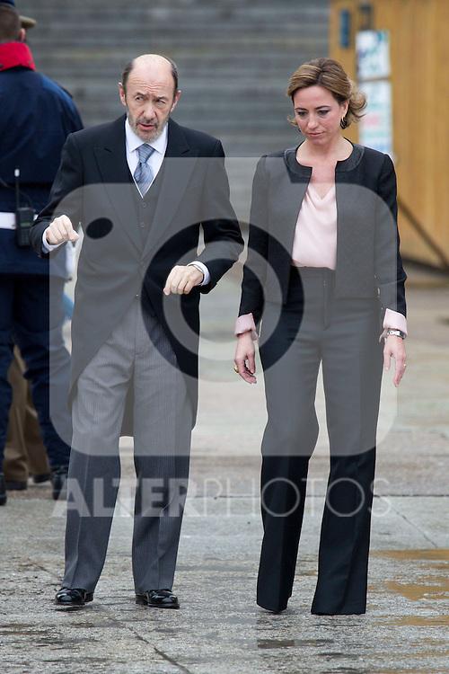 Military Christmas at Madrid Royal Palace. Alfredo Perez Rubalcaba and Carme Chacon (Spain's vicep president and Defense minister)..Photo: MAC / ALFAQUI