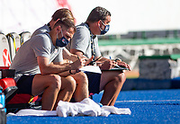 GUADALAJARA, MEXICO - MARCH 28: Rob Vartughian, Steve Ralston and Jeff Cassar the U.S. Under-23 Men's National Team assistant coaches during a game between Honduras and USMNT U-23 at Estadio Jalisco on March 28, 2021 in Guadalajara, Mexico.