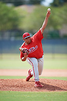 Philadelphia Phillies pitcher Jakob Hernandez (47) delivers a pitch during an Instructional League game against the Atlanta Braves on October 9, 2017 at the Carpenter Complex in Clearwater, Florida.  (Mike Janes/Four Seam Images)