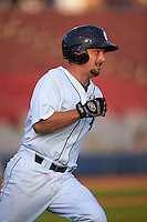 Connecticut Tigers catcher Shane Zeile (59) runs to first during the first game of a doubleheader against the Brooklyn Cyclones on September 2, 2015 at Senator Thomas J. Dodd Memorial Stadium in Norwich, Connecticut.  Brooklyn defeated Connecticut 7-1.  (Mike Janes/Four Seam Images)