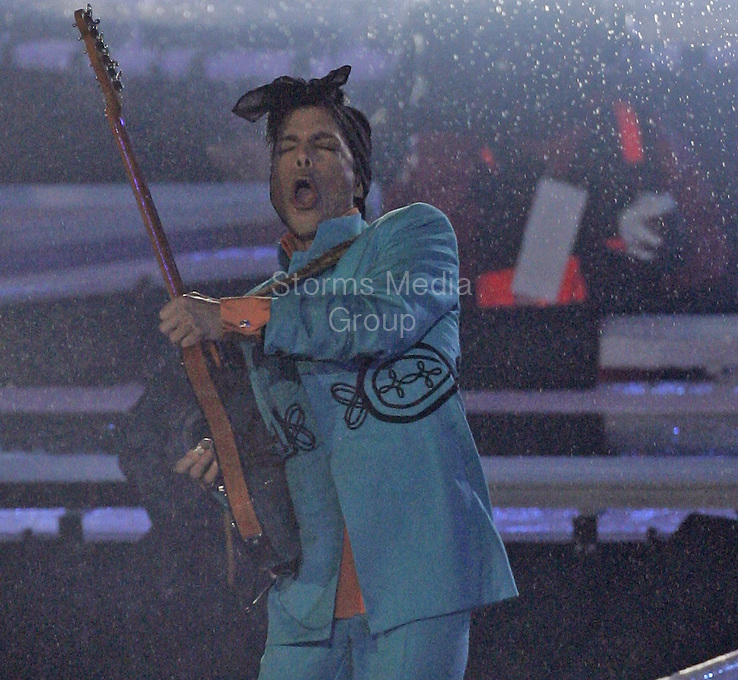 MIAMI, FL - FEBRUARY 4: Prince Rogers Nelson The artist known as Prince has died at 57 on April 21, 2016. Prince performs at Super Bowl XLI - Indianapolis Colts vs Chicago Bears on February 4, 2007 at Dolphin Stadium in Miami Gardens, Florida<br /> <br /> People:  Prince