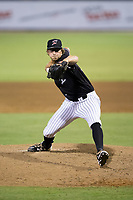Kannapolis Intimidators relief pitcher J.B. Olson (24) in action against the Greenville Drive at Kannapolis Intimidators Stadium on August 7, 2017 in Kannapolis, North Carolina.  The Drive defeated the Intimidators 6-1.  (Brian Westerholt/Four Seam Images)