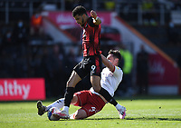 2nd April 2021; Vitality Stadium, Bournemouth, Dorset, England; English Football League Championship Football, Bournemouth Athletic versus Middlesbrough; Grant Hall of Middlesbrough competes for the ball with Dominic Solanke of Bournemouth in the penalty area