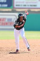 Ronald Guzman (31) of the High Desert Mavericks runs the bases during a game against the Bakersfield Blaze at Mavericks Stadium on May 18, 2015 in Adelanto, California. High Desert defeated Bakersfield, 7-6. (Larry Goren/Four Seam Images)