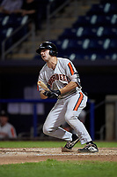 Aberdeen Ironbirds Andrew Daschbach (28) bats during a NY-Penn League game against the Staten Island Yankees on August 22, 2019 at Richmond County Bank Ballpark in Staten Island, New York.  Aberdeen defeated Staten Island 4-1 in a rain shortened game.  (Mike Janes/Four Seam Images)