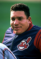 Bartolo Colon of the Cleveland Indians during a 2001 season MLB game at Angel Stadium in Anaheim, California. (Larry Goren/Four Seam Images)
