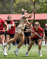 NEWTON, MA - MAY 14: Cara Urbank #26 of Boston College takes a shot as Hailey Durkin #25 of Fairfield University defends during NCAA Division I Women's Lacrosse Tournament first round game between Fairfield University and Boston College at Newton Campus Lacrosse Field on May 14, 2021 in Newton, Massachusetts.