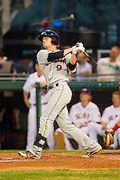Creede Simpson (9) of the Delmarva Shorebirds connects on a solo home run against the Hagerstown Suns at Municipal Stadium on April 11, 2013 in Hagerstown, Maryland.  The Shorebirds defeated the Suns 7-4 in 10 innings.  (Brian Westerholt/Four Seam Images)