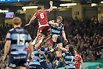 Cardiff - UK - 20th April 2014 : Cardiff Blues v Scarlets- RaboDirect PRO12 at the Millennium Stadium in Cardiff :