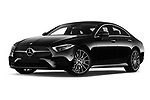 Stock pictures of low aggressive front three quarter view of a 2019 Mercedes Benz CLS Coupe AMG line 4 Door Sedan