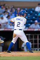 Boog Powell (2) of the Durham Bulls at bat against the Indianapolis Indians at Durham Bulls Athletic Park on August 4, 2015 in Durham, North Carolina.  The Indians defeated the Bulls 5-1.  (Brian Westerholt/Four Seam Images)