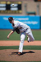 Sacramento RiverCats relief pitcher DJ Snelten (46) follows through on his delivery during a Pacific Coast League against the Tacoma Rainiers at Raley Field on May 15, 2018 in Sacramento, California. Tacoma defeated Sacramento 8-5. (Zachary Lucy/Four Seam Images)
