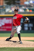 Indianapolis Indians relief pitcher A.J. Morris (30) in action against the Charlotte Knights at BB&T BallPark on June 21, 2015 in Charlotte, North Carolina.  The Knights defeated the Indians 13-1.  (Brian Westerholt/Four Seam Images)