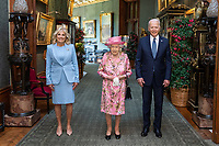 President Joe Biden and First Lady Jill Biden pose for an official photo with Queen Elizabeth II in the Grand Corridor of Windsor Castle on Sunday, June 13, 2021, in Windsor, England. (Official White House Photo by Adam Schultz)