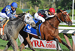 Texas Red (no. 3) ridden by Kent Desormeaux and trained by Keith Desormeaux, wins the 52nd running of the grade 2 Jim Dandy Stakes for three years olds on August 1, 2015 at Saratoga Race Course in Saratoga Springs (Sophie Shore/Eclipse Sportswire)