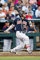 Arizona Wildcats second baseman Cody Ramer (13) follows through on his swing against the Oklahoma State Cowboys in Game 6 of the NCAA College World Series on June 20, 2016 at TD Ameritrade Park in Omaha, Nebraska. Oklahoma State defeated Arizona 1-0. (Andrew Woolley/Four Seam Images)