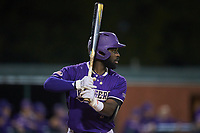 Immanuel Wilder (7) of the Western Carolina Catamounts at bat against the St. John's Red Storm at Childress Field on March 12, 2021 in Cullowhee, North Carolina. (Brian Westerholt/Four Seam Images)