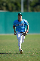 Josh Pearson (2) during the WWBA World Championship at Terry Park on October 8, 2020 in Fort Myers, Florida.  Josh Pearson, a resident of West Monroe, Louisiana who attends West Monroe High School, is committed to Louisiana State.  (Mike Janes/Four Seam Images)