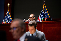 """United States Representative Jerrold Nadler (Democrat of New York) listens as Federal Bureau of Investigation Director Christopher A. Wray appears before a House Committee on the Judiciary hearing """"Oversight of the Federal Bureau of Investigation"""" in the US Capitol Visitors Center Auditorium at the US Capitol, in Washington, DC, Thursday, June 10, 2021. Credit: Rod Lamkey / CNP /MediaPunch"""