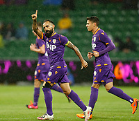 23rd May 2021; HBF Park, Perth, Western Australia, Australia; A League Football, Perth Glory versus Macarthur; Diego Castro of Perth Glory celebrates after scoring from a penalty kick in the 13th minute to make the score 1-0