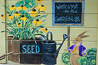 Front porch of garden shed in children's garden, Community garden, Yarmouth ME, USA