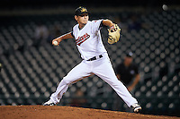 Mesa Solar Sox pitcher Cameron Hill (48), of the Cleveland Indians organization, during a game against the Salt River Rafters on October 22, 2016 at Sloan Park in Mesa, Arizona.  Salt River defeated Mesa 7-2.  (Mike Janes/Four Seam Images)