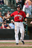 May 2, 2010:  Second Baseman Luke Hughes (18) of the Rochester Red Wings at bat during a game vs. the Durham Bulls at Frontier Field in Rochester, NY.  Rochester defeated Durham in extra innings by the score of 7-6.  Photo By Mike Janes/Four Seam Images
