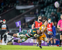 21st May 2021; Twickenham, London, England; European Rugby Challenge Cup Final, Leicester Tigers versus Montpellier; Benoit Paillaugue of Montpellier Rugby is tackled by Nemani Nadolo of Leicester Tigers