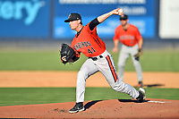 Aberdeen IronBirds pitcher Jake Prizina (41) delivers a pitch during a game against the Asheville Tourists on June 16, 2021 at McCormick Field in Asheville, NC. (Tony Farlow/Four Seam Images)